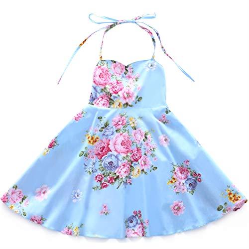 Flofallzique Vintage Floral Girls Dress for 1-12 Years Old Party Toddler Sundress (10, Blue)
