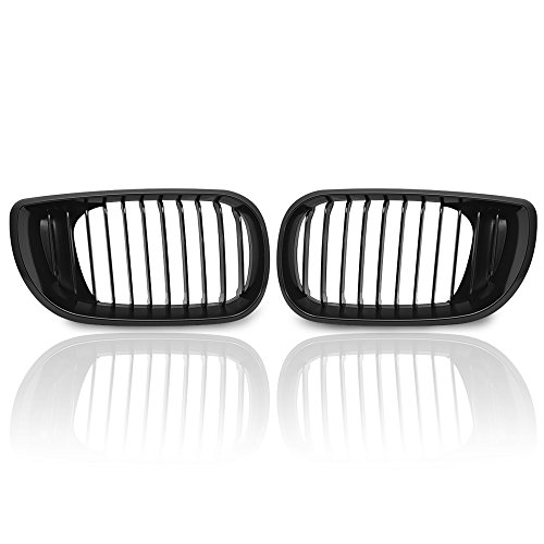 Price comparison product image Anzio Direct Fit BMW E46 3 Series 320 325 330 4 Door 2002-2005 02-05 Euro Style MATTE BLACK Front Upper Kidney Grille Grill LH & RH