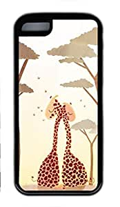 Soft Black TPU Back Cover for iPhone 5C,Two Giraffe Hugging Case for iPhone 5C