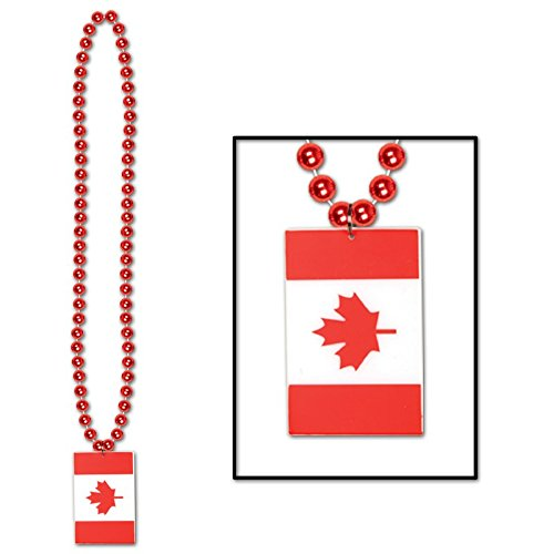 "Club Pack of 12 Metallic Red Beads with ""Canadian Flag"" Medallion Party Bead Necklaces 36"""