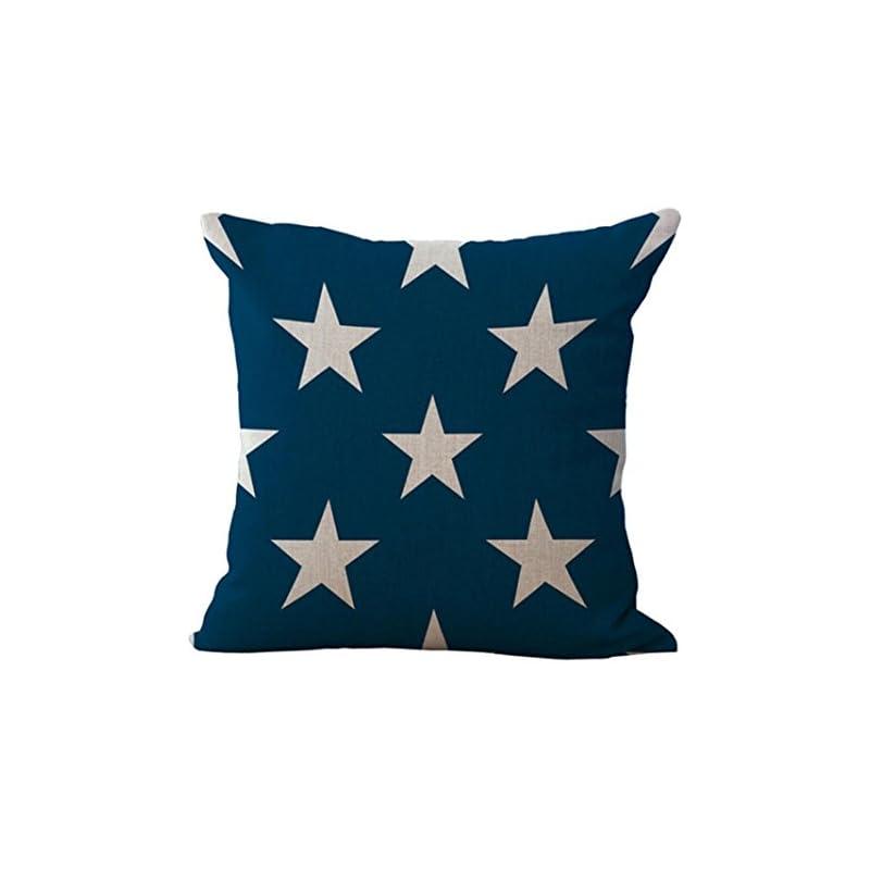Loxokonva the Stars and Stripes Print Pillowcase Cotton Linen Sofa Car Home Waist Fashion National Flag Cushion Cover Square Throw Pillow Case (C)