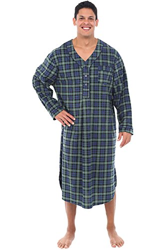 Alexander Del Rossa Mens Fleece Nightshirt, Long Warm Woven Kaftan, XL Blue and Green Plaid (A0329P23XL)