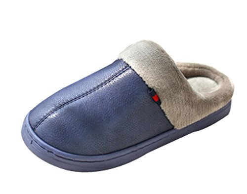 Blue PU Warm Slippers Mens Cattior Slippers Navy Outdoor House Leather xZqH5wB