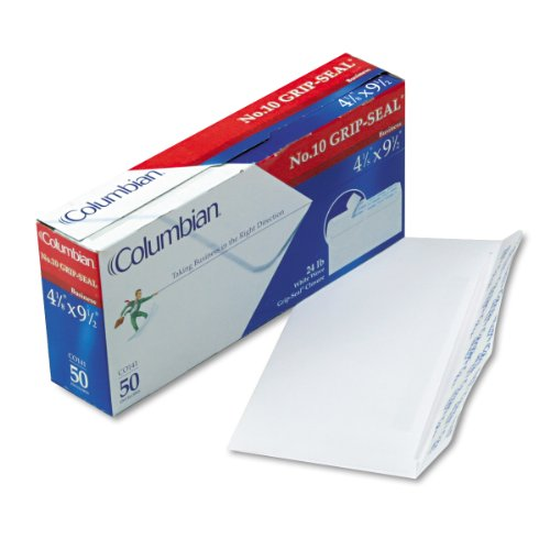 Columbian CO141 Grip-Seal Business Envelope, Side Seam, 10, 4 1/8 x 9 1/2, White, 50/Box