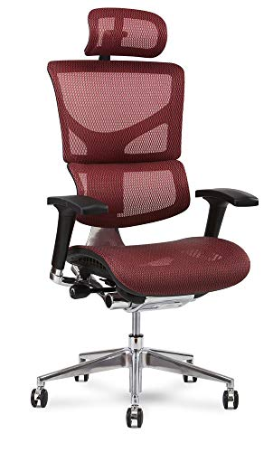 X Chair X2 Executive Task Chair, Red K-Sport Mesh with Headrest