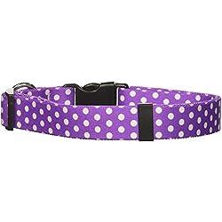 "Yellow Dog Design Standard Easy-Snap Collar, New Purple Polka Dot, Large 18"" - 28"""