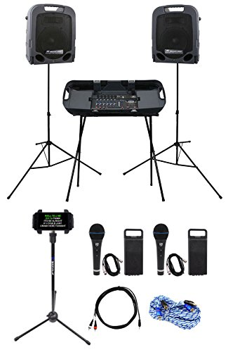 Peavey Portable Powered YouTube Karaoke Machine/System w/ Mixer+Stands+(2) Mics