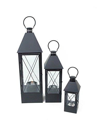 Set of 3 Modern Style Black Decorative Outdoor Oil Lanterns