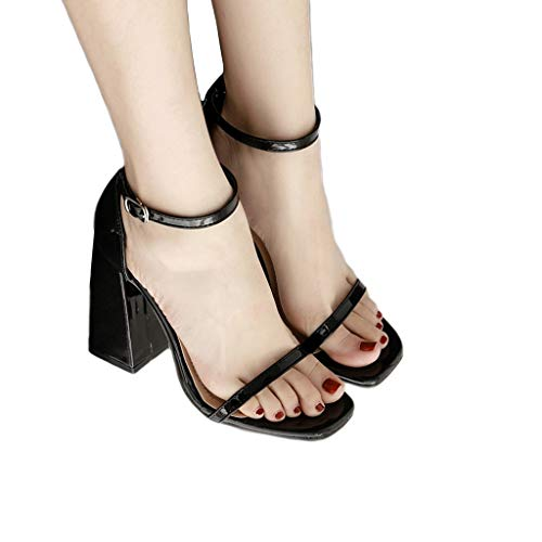 - Chunky High Heel Sandals for Women,Ankle Strap Open Toe Pump Sandal for Dress Wedding Party Evening Office Shoes (US:7, Black)