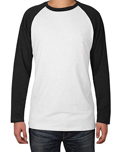 Twotwowin Mens Short/Long Sleeve T-Shirt Casual Workout Tops Baseball Tee Shirts(Style2 White, Medium)