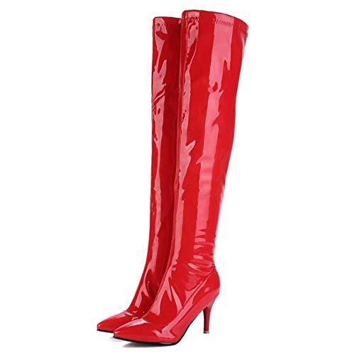 Aiguille Taoffen Bottes Genou Rouge Pointu talon Femmes Mode soirée wwUPp6q