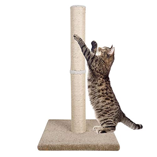 Dimaka 29″ Tall Cat Scratching Post for Big Cats, Natural Sisal Rope Post and Stable Heavy Carpet Base, Adult Cat Scratcher and Tree