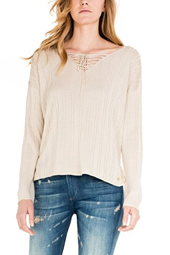SALSA Camiseta Regular de punto con cordones perla