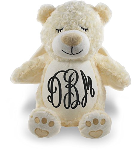 Personalized Stuffed Angel Bear with Embroidered Swirl (Personalized Angel Bear)