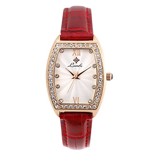 Leather Quartz Genuine - Ladies Fashion Watch, Womens Rose Gold Rectangular Diamond CaseWaterproof Quartz Elegant Casual Wrist Watches for Girls with Comfortable Genuine Leather Band (Red)