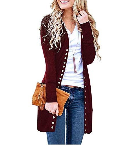Halife Women's Long Sleeve Ribbed Neckline Open Front Snap Button Down Knit Cardigans Sweater Coats Wine Red,XXL