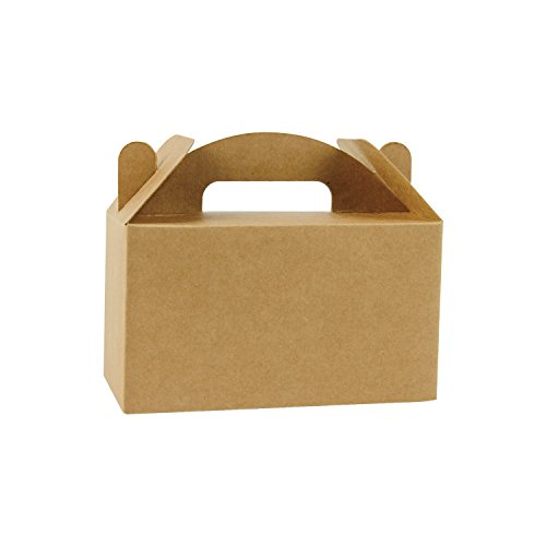 LaRibbons 24 Pack Treat Gift Boxes - 4 x 2.5 x 2.5 inches Brown Paper Box Recycled Kraft Gift Box Birthday Party Shower Favor Box