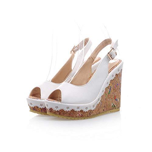 YuJi Shoes Women Sandals Summer Peep Toe Ankle Strap Platform Wedges Female Bordered Shoes,White,6