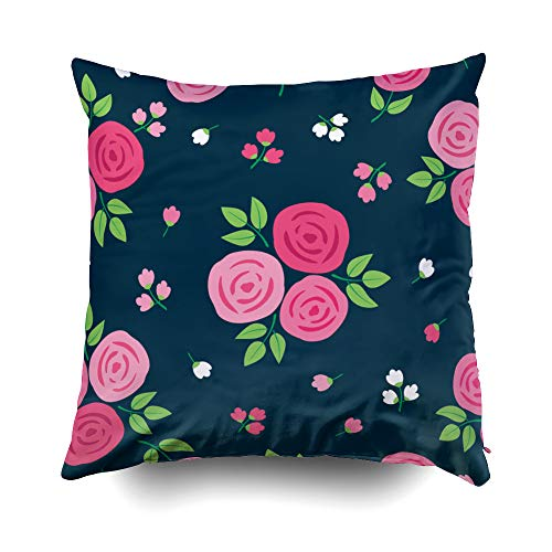 EMMTEEY Home Throw Pillowcase for Sofa Cushion Cover Simple Floral Pattern Roses Textile Wallpapers Gift Wrap Dark Background Decorative Square Double Sided Printing 18X18Inch