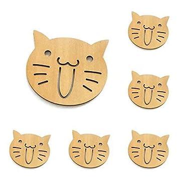 DoDoLightness Posavasos de dibujos animados, juego de 6 piezas de madera de sándalo, protege los muebles ...