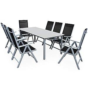 Casaria Salon de Jardin Aluminium Argent »Bern« 1 Table 8 chaises Pliantes Plateau de Table en Verre dépoli Dossier…