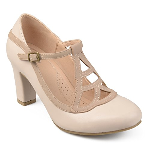 (Journee Collection Womens Round Toe Vintage Comfort-Sole Two-Tone Lattice Mary Jane Pumps Nude, 10 Regular US)