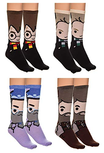 Holiday 4-Pack Jacquard Knit Unisex Crew Socks Gift Sets (Harry Potter) from Calhoun