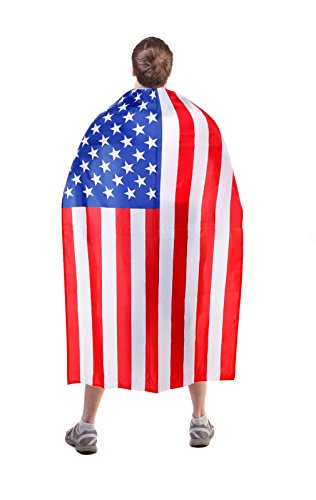 [Stars & Stripes Cape - USA Flag Design - For Adults And Kids - Celebrate America] (Costumes Usa)