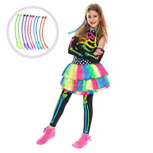 Funky Punky Bones Colorful Skeleton Deluxe Girls Costume Set with Hair Extensions for Halloween Costume Dress Up Parties.