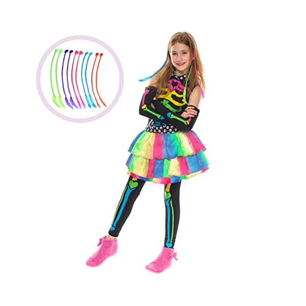 Funky Punky Bones Colorful Skeleton Deluxe Girls Costume Set with Hair Extensions for Halloween Costume Dress Up Parties. 3