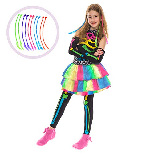 Spooktacular Creations Funky Bones Costume (Medium (8-10yr)) Rainbow ()