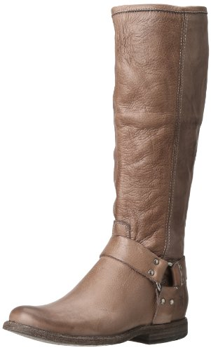 FRYE Women's Phillip Harness Tall Boot, Grey Soft Vintage Leather, 8.5 M US - Frye Phillip Tall Riding Boot