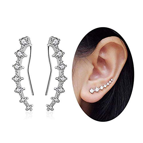 Crystals Ear Cuffs Hoop Climber S925 Sterling Silver Four-jaw Seven Stars Earrings Hypoallergenic Earring