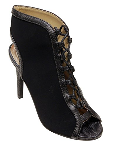 Forever Blake-04 Womens Peep Toe Snake Edge Stripe up slingabck Nubuck Sexy Vintage High Heel Pumps Black DWHrR