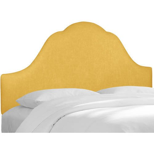 Deluxe Arch Headboard with Elegant Linen Upholstery, Plush Foam Padding, Made to Fit Standart Bed Sizes, Spot Clean Only, Hardware Included, Full/Yellow + Expert Home Guide by Love US