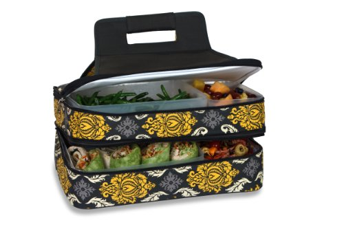 e Carrier 2 level Thermal Insulated Hot and Cold Pot Luck Food Carrier with Bonus Containers Provence Flair ()