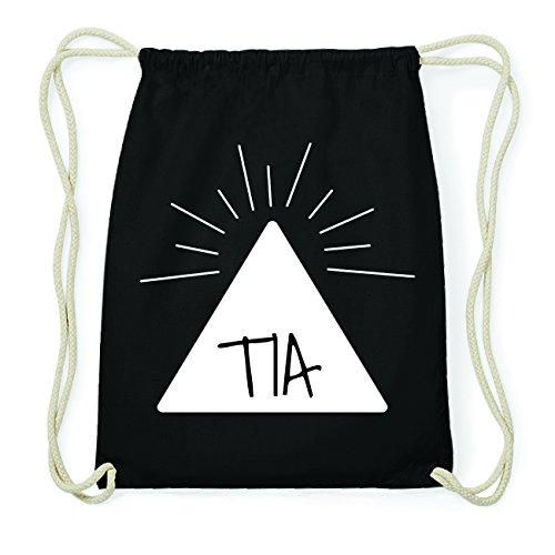 JOllify TIA Hipster Turnbeutel Tasche Rucksack aus Baumwolle - Farbe: schwarz Design: Pyramide JxLedf