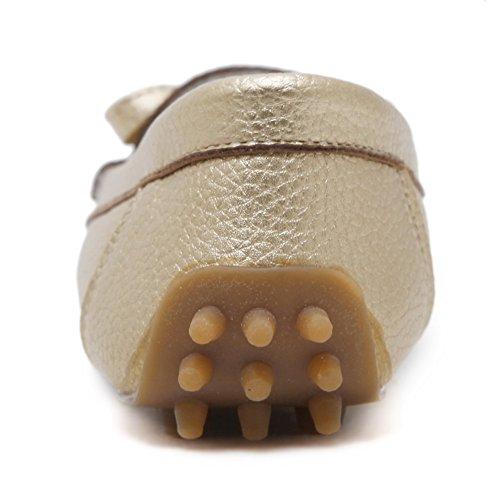 Aalardom Kvinnor Rund Tå Pådragblandningsmaterial Pumpar-shoes Guld