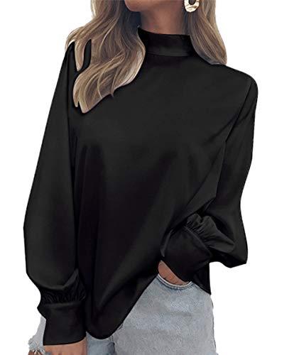 Couleur Femmes Tops Mode Manches Roul Unie Printemps Lanterne Automne Col Blouse Noir Shirts Tee Chemisiers Chemises Hauts vq5y1w