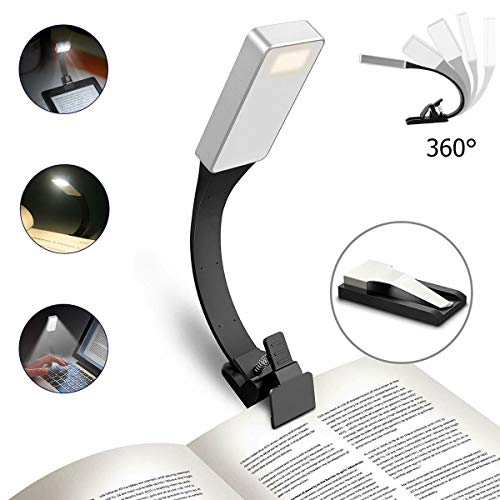 LED Reading Light,USB Rechargeable Eye Care Book Reading Light Clip On LED Flexible Bookmark Reading Lamp Double Clips for Book Kindle Bed Flight Travel