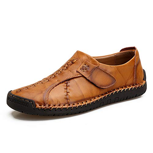 TQGOLD Mens Leather Shoes Driving Moccasin Casual Loafer Driving Shoes Hand Stitching Zipper Loafer Boat Sneaker ()