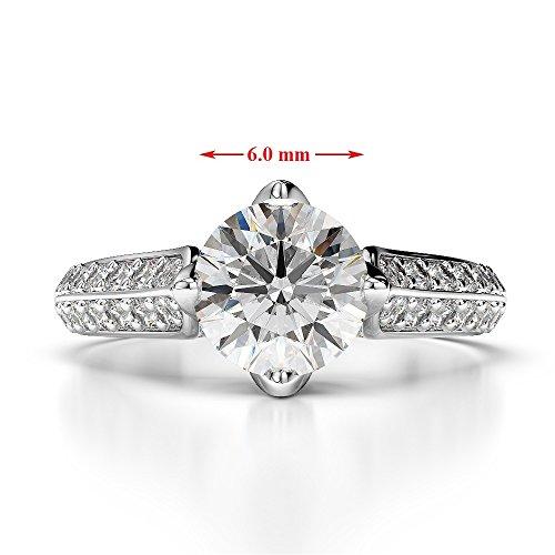 G-H/VS 1CT Coupe ronde sertie de diamants et saphir Bague de fiançailles en platine 950Agdr-1205