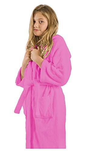 Bamboo Hooded Robe (robesale Terry Hooded Kids Robes, Bathrobes, Large, Pink Robes)