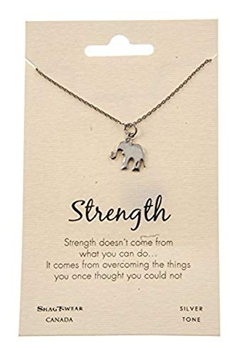 (Shag Wear Animal Inspirations Quote Pendant Necklace (Strength, Elephant Pendant))