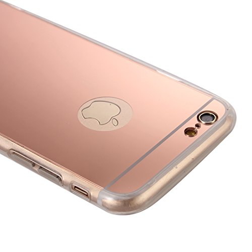 König-Shop Handy Hülle Spiegel Mirror Soft Case Schutz Hülle Cover für Apple iPhone 6 Plus / 6s Plus Rose Gold