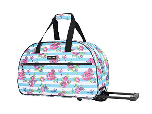 - Betsey Johnson Luggage Designer Pattern Suitcase Wheeled Duffel Carry On Bag (One Size, Stripe Floral)