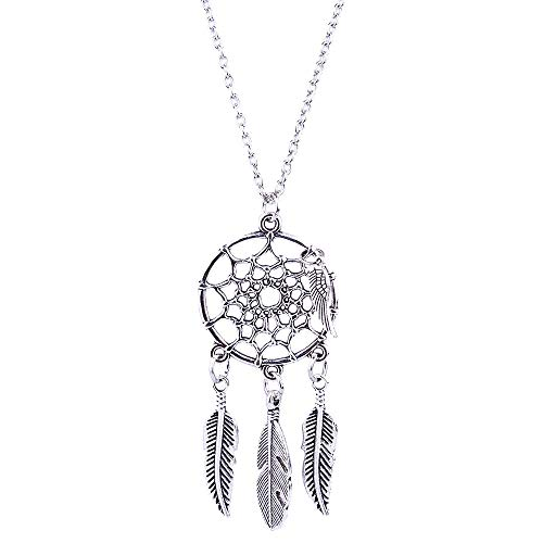 Sinfu Necklace for Ethnic Style Sweater Chain Fringe Feather Long Style Dream Catcher Necklace (Adjustable, Silver)