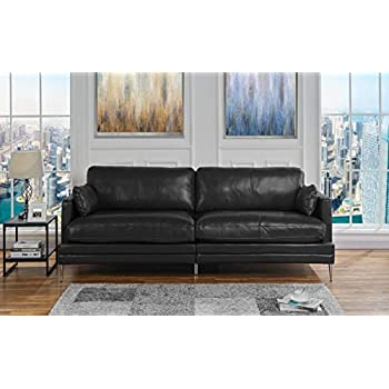 Amazon Com Black Leather Upholstered Sofa Couch Modern