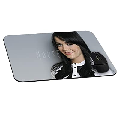 Cute Katy Perry Gaming Office Mouse Pad with Cloth Cover - Non-Slip Rubber Backing - Special-Textured Surface(8.7*7.1*0.12Inch)