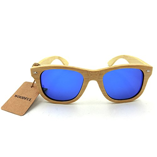 Woodful Natural Wooden Bamboo Sunglasses For Women And Men Blue